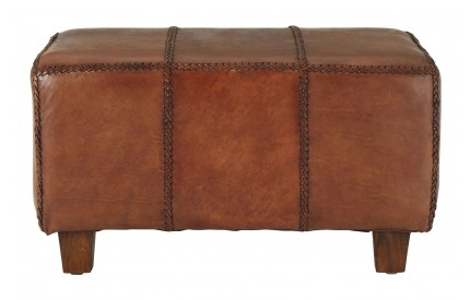 Inca Bench Antique Brown Leather Teak