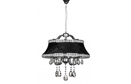 Krystle Pendant Light Chrome Iron Frame/Crystal Black Shade