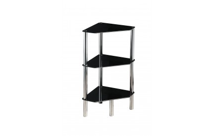 Corner Unit 3 Tier Black Glass Chrome Finish Legs