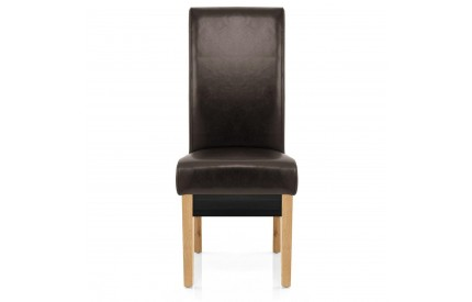 Cuba Dining Chair Brown Leather Oak Leg