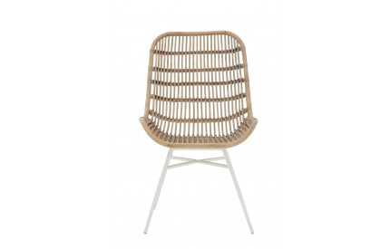 Lagom Rattan Chair White Wash Iron Legs