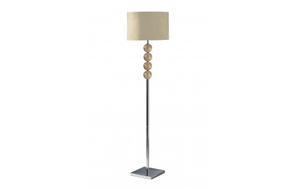 Mistro Floor Lamp Amber Orb / Chrome Base Cream Faux Suede Shade / EU Plug