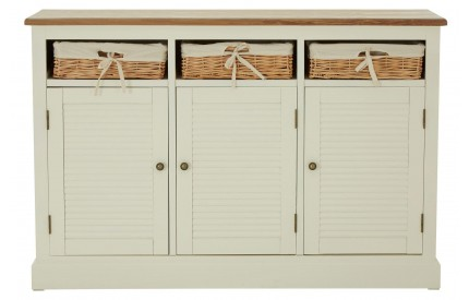 Summer Cream 3 Door Basket Sideboard