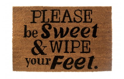 Please Be Sweet Doormat Coir/PVC Backed Natural/Black