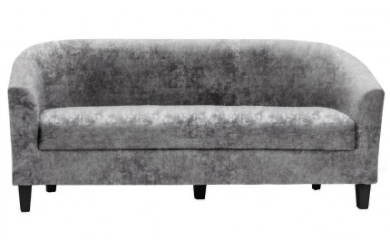 3 Seater Tub Sofa Crushed Velvet Silver