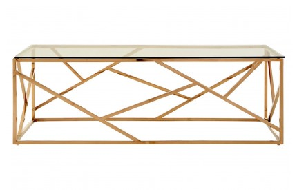 Allure Coffee Table Clear Glass Rose Gold