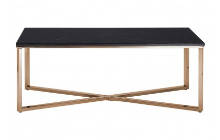 Premium Rectangular Coffee Table Black Faux Marble Champagne Gold