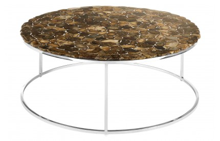 Newcity Round Coffee Table Agate Stone Stainless Steel Base