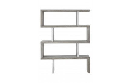 4 Tier Bookshelf Grey Elm Wood Stainless Steel