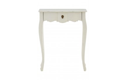 French Console Table 1 Drawer White Bayur Wood