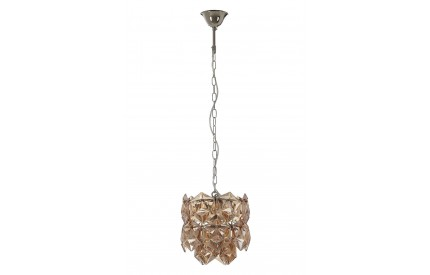 Rydello Chandelier Amber Glass Nickel Plated Iron