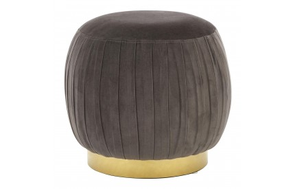 Thor Round Footstool Grey Velvet Gold Finish Metal Base
