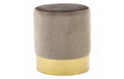 Thor Round Stool Taupe Vel Gold Finish Metal Base