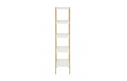Nostra 5 Tier Shelf Unit White/Bamboo