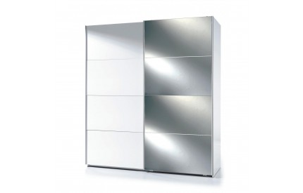 Pacific Sliding Wardrobe 6 Foot Half Mirrored High Shine White