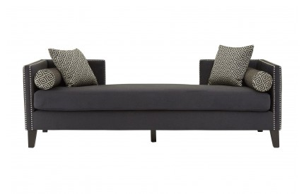 Reginy 3 Seat Day Bed Sofa Dark Grey Velvet