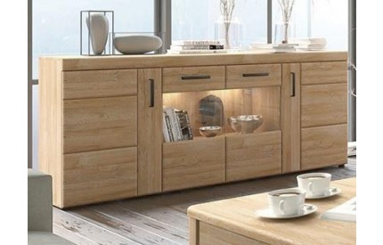 Cortina 4 Door Glazed Sideboard in Grandson Oak