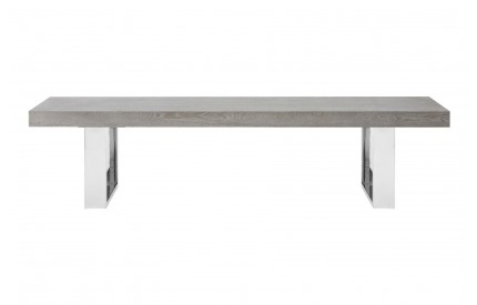 Grey Elm Wood Bench Stainless Steel Legs