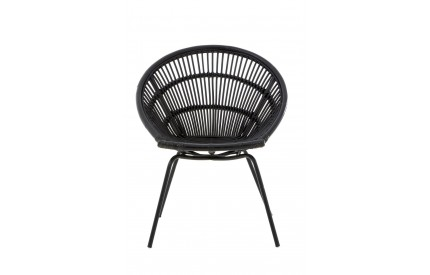 Lagom Black Chair Rattan Iron Legs
