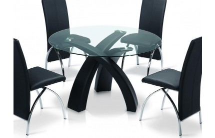 Stonely Dining Table Black Leather Frame Clear Glass Top