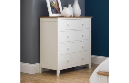 Salerno Shaker Ivory/ Oak 4 Drawer Chest of Drawers