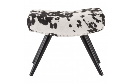 Rodeo Footstool Black / White Faux Cowhide Black Birch Wood Legs
