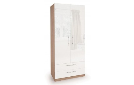 Moore High Gloss 2 Door 2 Drawer Wardrobe
