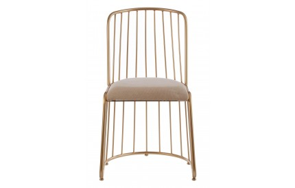 Lexi Gold Finish Chair White Linen