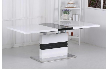 Techto High Gloss Black & White Extending Dining Table