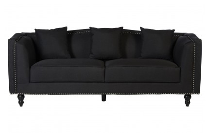 Riya 3 Seat Sofa Black Fabric Eucalyptus Wood Feet