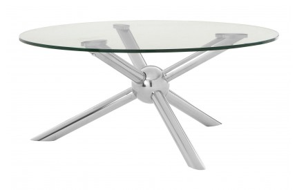 Onebay Coffee Table Clear Tempered Glass Silver Legs