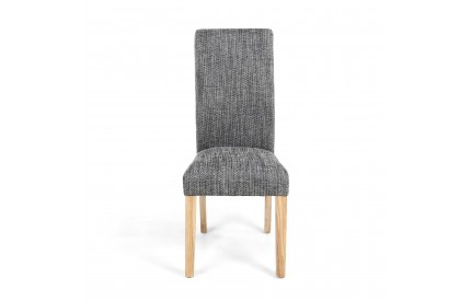 Karta Scroll Back Tweed Grey Dining Chair