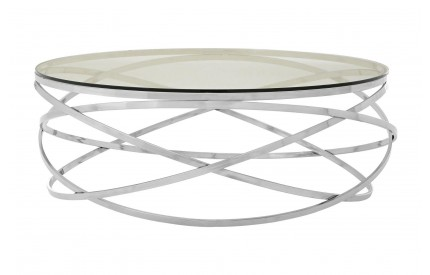 Allure Round Coffee Table Clear Tempered Glass Stainless Steel