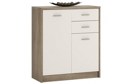 4 You 2 Door 2 Drawer Cupboard in Canyon Grey / Pearl White