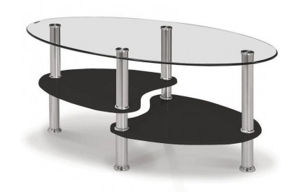 Glass Coffee Table Clear & Black Gloss