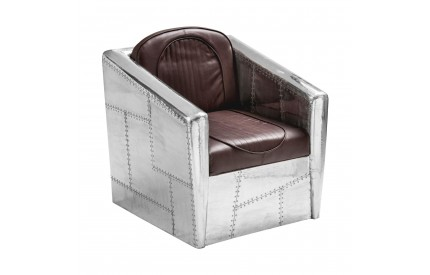 Aviator Armchair Aluminium / Brown Leather Effect