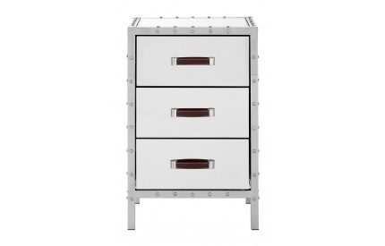 Rivet Bedside Cabinet Stainless Steel / Mirrored Glass 3 Drawers