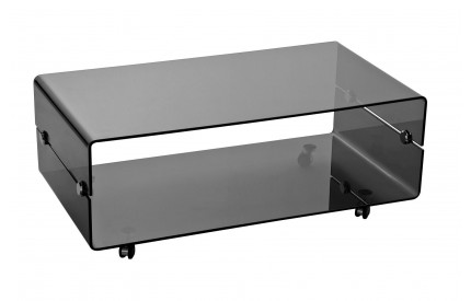 Coffee Table 2 Tier Grey Bent Glass With Wheels