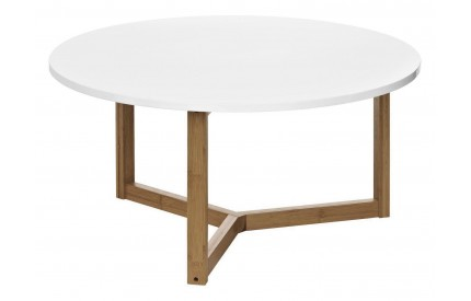 Coffee Table MDF/White High Gloss Finish Bamboo Legs