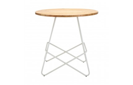 Precinct Round Table White Metal and Elm Wood
