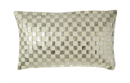 Buckingham Townhouse Cushion Wool / Polyurethane Ivory / SIlver Checkerboard Design