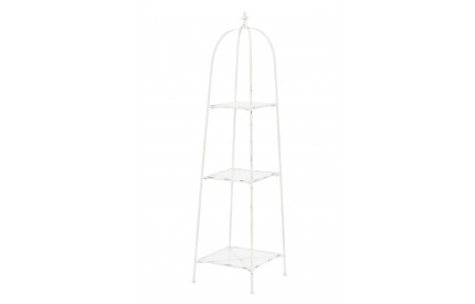 New York Loft Shelf Unit White Distressed Metal Finish 3 Tier