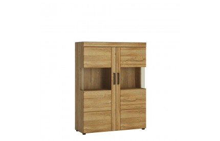 Cortina Low Wide 2 Door Display Cabinet Oak