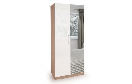 Moore High Gloss  2 Door Mirror Wardrobe