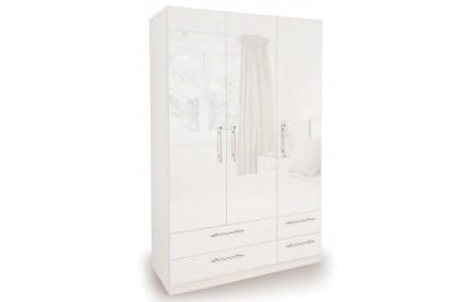 Charms High Gloss 3 Door 4 Drawer Wardrobe