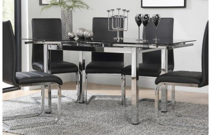 Glass Extending Dining Table Chrome & Black