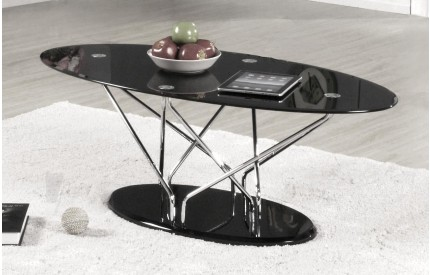 Harland Glass Coffee Table Chrome & Black