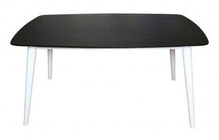 Dining Table Black Ash Veneer White Legs