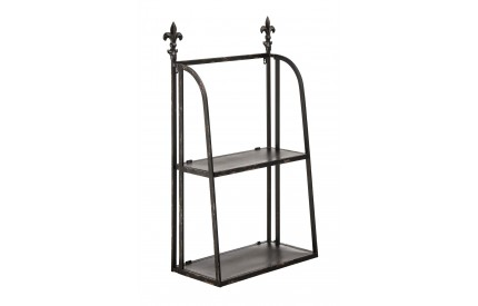 Wall Mountable Shelf Unit 2 Tier Black Metal