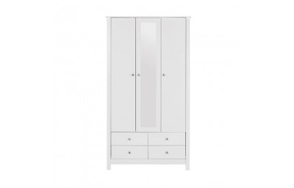 Florence 3 Door 4 Drawer Mirrored Wardrobe White